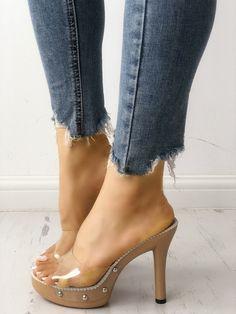 6baba01c4dbb9 Rivet Embellished Platform Transparent Heel Sandals Heeled Sandals