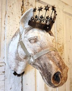 Check out Horse head wall mount faux painted white brown French Farmhouse ornate taxidermy sculpture shabby distressed chic decor anita spero design on anitasperodesign