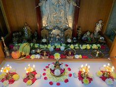 Backdrop Decorations, Backdrops, Ganesha Rangoli, Pooja Room Door Design, Home Temple, Puja Room, Floating Flowers, God Pictures, Indian Home Decor