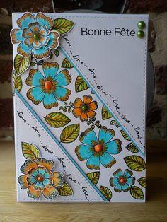 Carte fleurie tout en tampons par Athéna