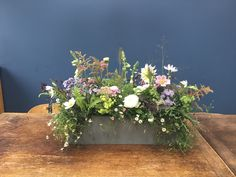 Flowers in test tubes planted into a garden trough of Erigeron. These can be used as pew ends or on the windowsills of churches Garden Troughs, Pew Ends, Test Tubes, Window Sill, Floral Wreath, Wreaths, Canning, Flowers, Plants