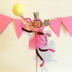 Pink Monkey Cake Topper by marileejanedesigns.etsy.com
