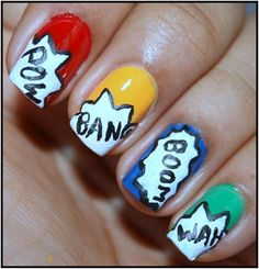 Need some simple nail arts? Here is a nail art design tutorial that you can try easily. Learn this step by step simple nail art, the process of creating comic pop art. Comic Book Nails, Comic Nail Art, Book Nail Art, Fancy Nails, Love Nails, How To Do Nails, Pretty Nails, My Nails, Simple Nail Art Designs