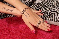 Thin ribbon on wrist