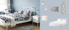 MUSKEN white bed with bedside tables and SÖTBLOMSTER white/blue quilt cover and pillowcases