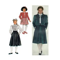 Girls' Skirt in Two Lengths, Blouse and Lined Jacket Sewing Pattern Size 10 Uncut Simplicity 6225