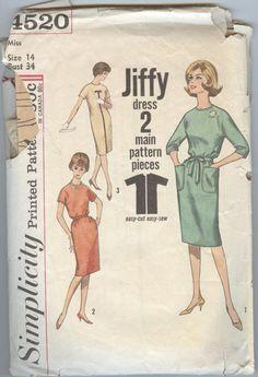 1960s Dress Pattern McCalls 4520 Slim Skirt Kimono Sleeves