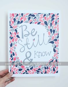 pattern inspiration    Navy and Coral, Scripture, Bible Verse, Psalms, Be Still and Know, Girls Room, Nursery Art, Inspirational Quote 8 x 10 Art Print. $17.50, via Etsy.