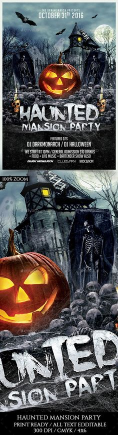 Haunted Mansion Party Flyer Template PSD                                                                                                                                                                                 More