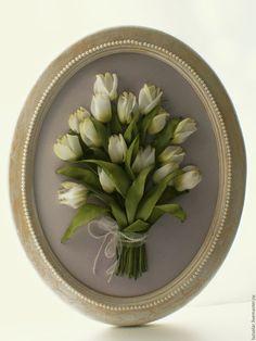 Купить Картина лентами Белые тюльпаны 40 х 50 см - белый, тюльпаны