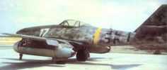 """Messerschmitt Me 262 A-1a W.Nr.110956 Franz Holzinger 3 EJG2 captured Lechfeld ,April 29 1945.*  *W.Nr.110956 Possibly flown by Heinz Bär, coded """"White 17"""" and """"White S"""" for Schulmaschine ,a trainer or schooling plane."""
