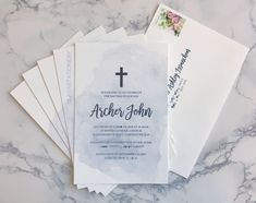 ✝️ Classic watercolour invitations for a special baptism. If you would like these in pink or another colour, please ask 😍 Boy Christening, Boy Baptism, Christening Invitations, Baby Shower Invitations, Elegant Invitations, Custom Invitations, Addressing Envelopes, Watercolor Invitations, Love My Job