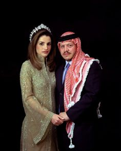 King of Jordan Abdullah II with his wife, Queen Rania