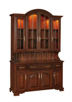 Amish Queen Anne Hutch brings a formal dining room to life. Cherry Wood Desk, Cherry Wood Furniture, Shaker Furniture, Amish Furniture, Wooden Furniture, Furniture Design, Queen Anne Furniture, Cherry Wood Kitchens, Wood Railing