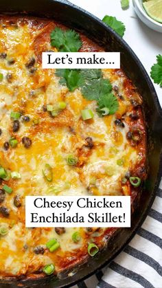 Chicken Enchilada Skillet, Cheesy Chicken Enchiladas, Frugal Meals, Easy Meals, Good Food, Yummy Food, Mexican Food Recipes, Ethnic Recipes, Cooking Recipes
