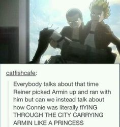 SNK Connie carrying Armin like a princess