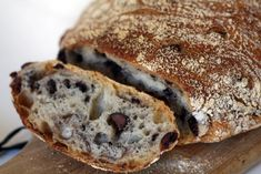 Kalamata Olive Bread-A very rustic flavorful well crafted artisan bread. Crusty, almost crunchy on the outside, tangy well developed flavor on the inside with large holes. Copycat of Sage Bakehouse Kalamata Olive Bread / $7.00 for a small loaf in Santa Fe.