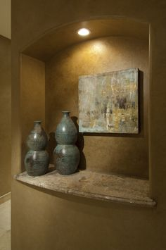 And for a touch of flair, a niche for displaying art. Construction by Sikora Creations. Interior Design by Speas Interior Design. Alcove Decor, Entryway Decor, Art Niche, Entertainment Wall Units, Southwestern Home Decor, Interior Design And Construction, Niche Design, Living Room Redo, Interior Design Awards