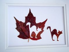 Real Autumn Maple Leaf Hand Cut - Inscribed Leaf Art - Black Cat by evLien Designs on Etsy, $28.00