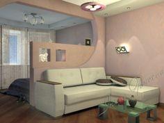 НРАВИТСЯ: 1) диван поперек 2) возможность поставить как маленькую, так и большую кровать  НЕ НРАВИТСЯ: 1) темновато 2) непонятно, куда ставить шкаф
