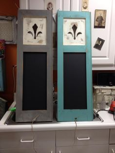 Vintage Shutters Made into Chalk Boards $65 each #GiftIdeas #MaisonStGermain #Woodbury #CT #ShopLocal