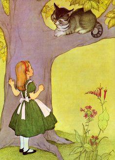 Carroll, Alice au pays des merveilles  -  Le chat est un personnage de choix des contes pour enfants, du Chat botté de Perrault aux Contes du chat perché de Marcel Aymé. Dans le récit fantastique de Lewis Carroll, Alice au pays des merveilles (1865), illustré par John Tenniel, apparaît — et disparaît — un énigmatique chat souriant, le chat de Chester.    Alice in Wonderland, illustrated by Marjorie Torrey.