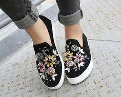 Women's Flat Rhinestones Skateboard Flowers Low Top Round Toe Sneakers Shoes in Clothing, Shoes & Accessories, Women's Shoes, Flats & Oxfords Rhinestone Shoes, Bling Shoes, Trendy Womens Shoes, Womens Flats, Shoe Makeover, Painted Canvas Shoes, Plein Air, Custom Shoes, Your Shoes