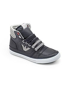 Armani Junior Boy's Leather Logo High-Top Sneakers