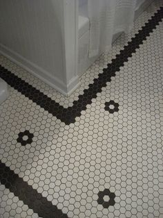 Vintage bathroom tile floor obsessed- Love Black & White- very vintage :)