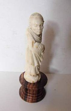 Bali Netsuke Old Woman Grand Mother Statue From Deer Antler Carving_u46
