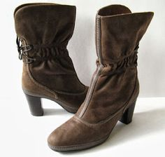 CoachShoes: CLARKS BROWN LEATHER ANKLE BOOTS WOMENS SIZE 8