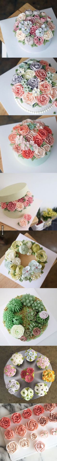Beautiful, all-buttercream Flower Cakes