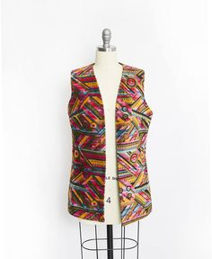 Vintage 60s Vest  Aladdin Geometric Tapestry Ethnic Boho