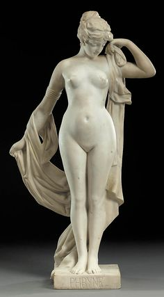 A French white marble figure of Phryne - 86.2cm. BY PIERRE CAMPAGNE, CIRCA 1885