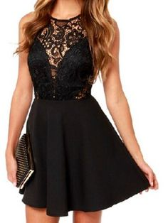 Black Sheer Lace Panel Sleeveless A-line Dress