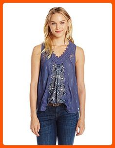 Taylor and Sage Women's Mix Print Tank with Lace, Medieval Blue, X-Small - All about women (*Amazon Partner-Link)
