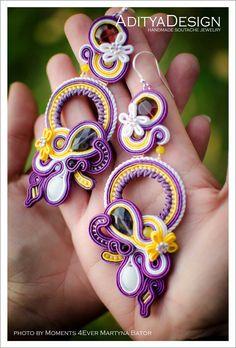 Soutache earrings, OOAK jewelry by AdityaDesign, Korallo Collection
