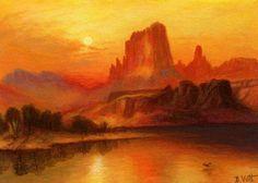 Western-landscape-sunset-lake-Thomas-Moran-original-aceo-painting-art
