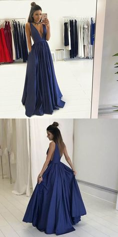 Long Blue Low V-Neck Prom Dresses Party Evening Gowns