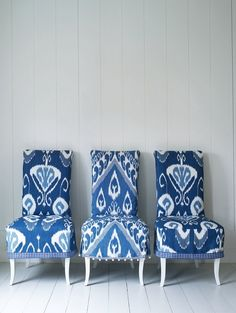 Blue Ikat print on chairs-could be used in so many ways
