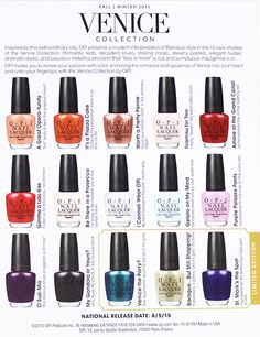 OPI Venice Collection nail polishes & other OPI surprises! Nail Polish Brands, Nail Polish Sets, Opi Nail Polish, Opi Nails, Shellac, Opi Nail Colors, Pedicure Colors, Fall Pedicure, Manicure And Pedicure