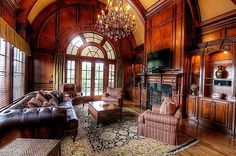 beautiful arched window and millwork in the library of this georgian mansion