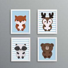 cute woodland animal prints for boys nursery, instant download nursery decor