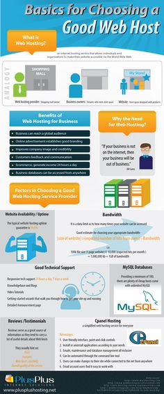 An infographic by Plus Plus Hosting showing the basic concepts of web hosting for the everyday internet user, benefits of web hosting for businesses,