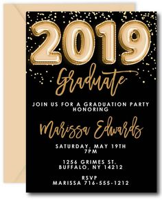 Gold Balloons Graduation Invitations - Decoration For Home Graduation Party Centerpieces, Graduation Party Planning, Graduation Decorations, Graduation Ideas, Graduation Gifts, Graduation Invitation Cards, Invitation Envelopes, Invitation Ideas, Gold Balloons