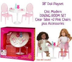 """Doll DINING ROOM Clear Table+Chairs+Dishes Decor GIFT Set Fits 18"""" American Girl"""