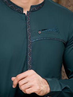 -Classic 2 pieces Shalwar Kameez suit -Simple and Amazing -Embroidery on Band -Fancy Kurta Ensemble -Cuff Sleeves -Soft Pima Cotton African Wear Styles For Men, African Shirts For Men, African Dresses Men, African Attire For Men, African Clothing For Men, Trendy Mens Fashion, Mens Fashion Wear, Big Men Fashion, Style Fashion