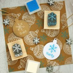 Personalised Child's Christmas Snowflake Rubber Stamp