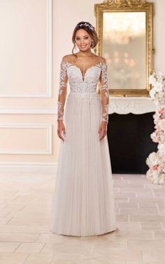 Fall Wedding Dresses 6707 Boho Wedding Dress with French Tulle by Stella York.Fall Wedding Dresses 6707 Boho Wedding Dress with French Tulle by Stella York Sweet Wedding Dresses, Boho Wedding Dress, Designer Wedding Dresses, Lace Wedding, Stella York Wedding Gowns, Stella York Bridal, Long Sleeve Wedding, Bridal Gowns, Marie