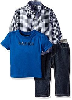 Nautica Baby Three Piece Set with Long Sleeve Check Woven Shirt Tee and Pant Sport Navy 12 Months >>> Continue to the product at the image link.
